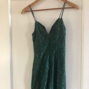Urban Outfitters cut-out green mini party dress
